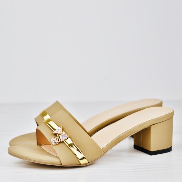 Dorbe Crystal Party Wear Box Midi Heel Sandals - Golden
