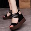 Heavy Bottom Black Strappy Sandals