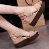 Heavy Bottom Khaki Strappy Sandals