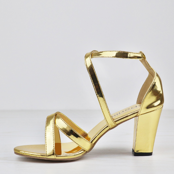 Party Wear Luxurious Strap Heel Sandals - Golden