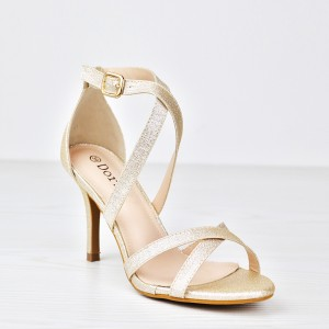 Glitter Party Wear Dorbe Stick Heel Sandals - Golden