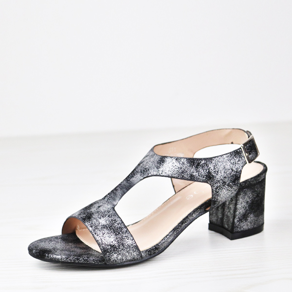 Dorbe Mesh Holographic Midi Heel Buckle Sandals - Black