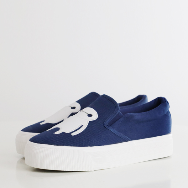 Cartoon Patched Thick Bottom Casual Shoes - Blue
