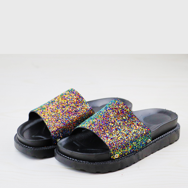 Colorful Glittered Flat Wear Summer Slippers