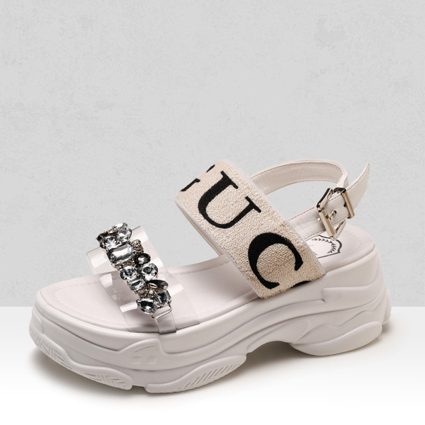 Rhinestone Decorated Thick Bottom Sandals - White