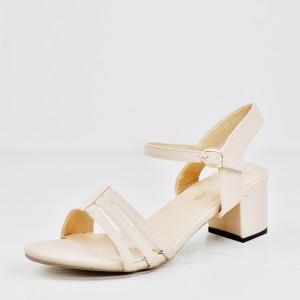 Strap Stitched Midi Heel Buckle Sandals - Khaki