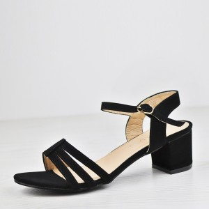 Strap Stitched Midi Heel Buckle Sandals - Black