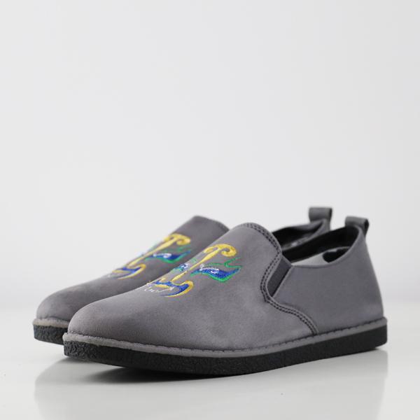 Suede Flat Sole Formal Wear Flat Shoes - Grey