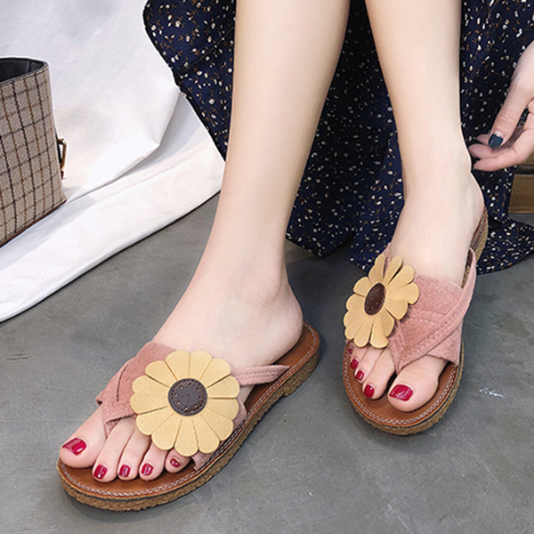 Sunflower Patched Flat Colorful Sandals