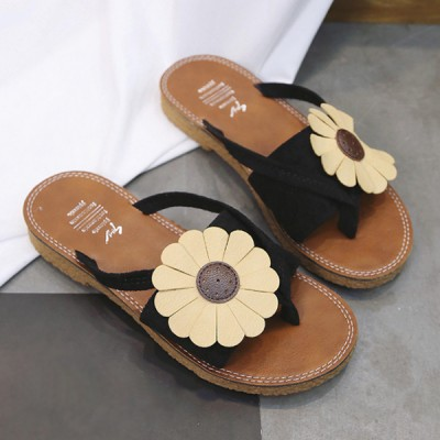Sunflower Patched Flat Colorful Sandals - Black