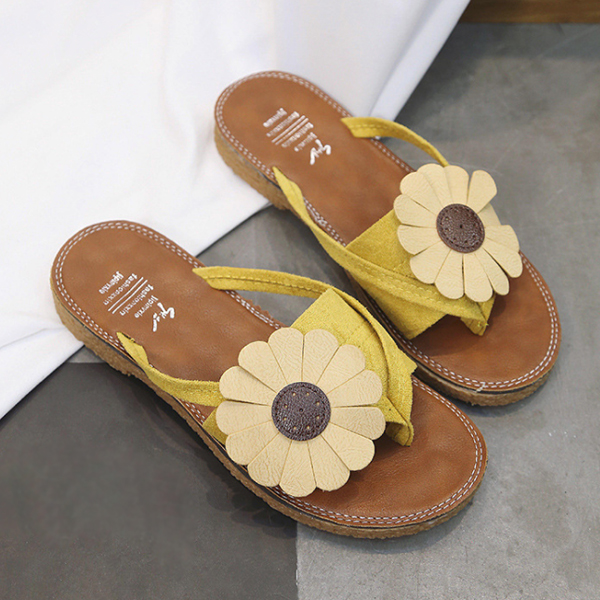 Sunflower Patched Flat Colorful Sandals - Yellow