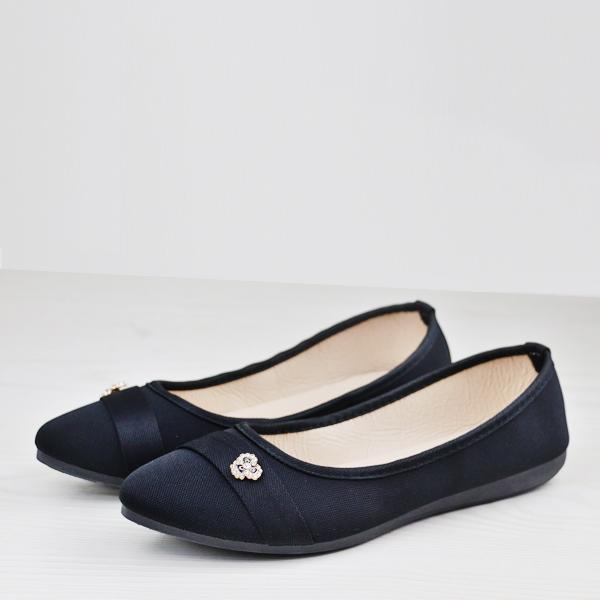 Flat Sole Office Wear Canvas Shoes - Black