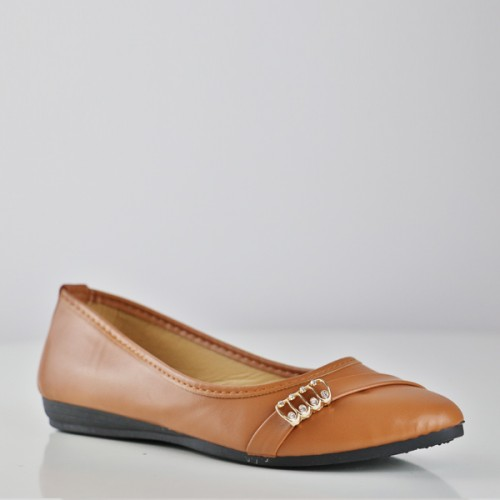 Synthetic Leather Spiral Patch Flat Shoes - Brown