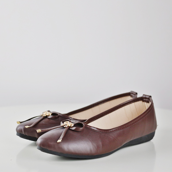 Bow Patched Formal Flat Office Wear Shoes - Brown