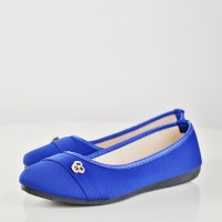 Floral Patch Canvas Flat Party Wear Shoes - Blue