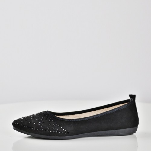 Patchwork Decorative Flat Formal Shoes - Black