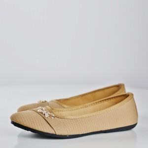 Stripes Texture Bow Crystal Flat Shoes - Khaki