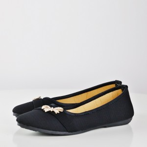 Stripes Texture Bow Crystal Flat Shoes - Black