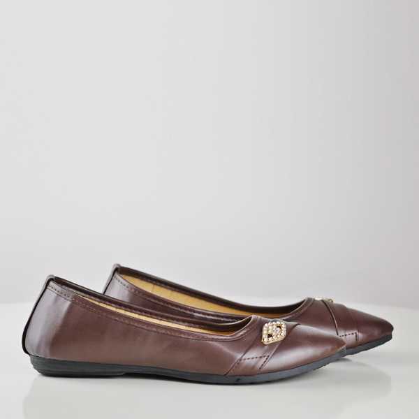 Crystal Formal Flat Office Wear Shoes - Brown