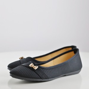 Bow Crystal Canvas Flat Party Wear Shoes - Black