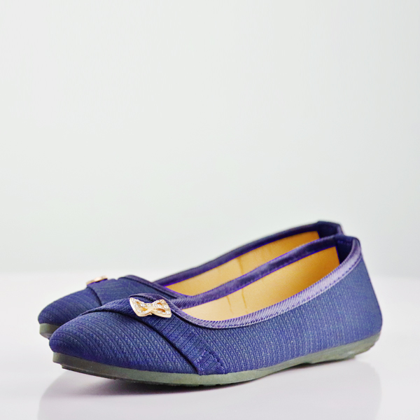 Bow Crystal Canvas Flat Party Wear Shoes - Blue