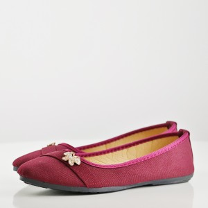 Crystal Canvas Flat Party Wear Shoes - Burgundy