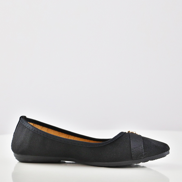 Crystal Canvas Flat Party Wear Shoes - Black