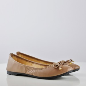 Bow Patch PU Flat Party Wear Shoes - Brown