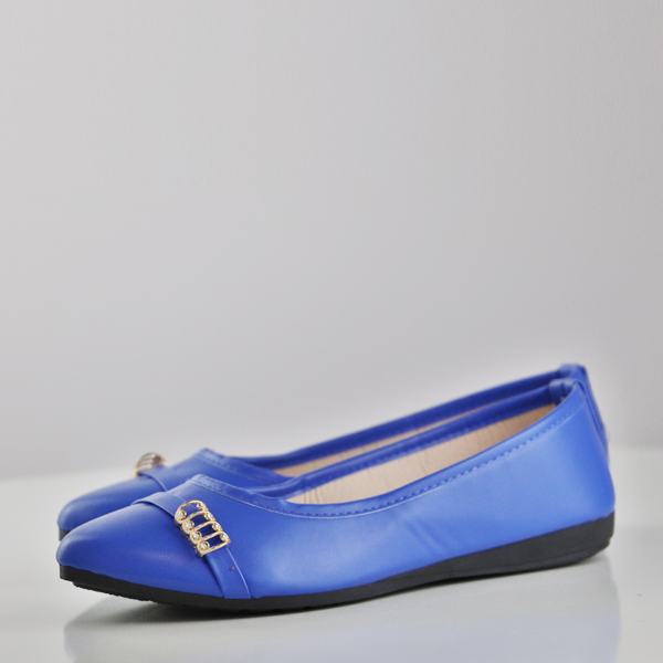 Synthetic Leather Spiral Patch Flat Shoes - Blue