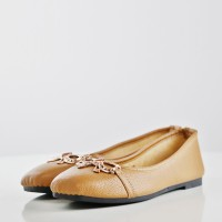 Leather Texture Flat Office Work Shoes - Brown