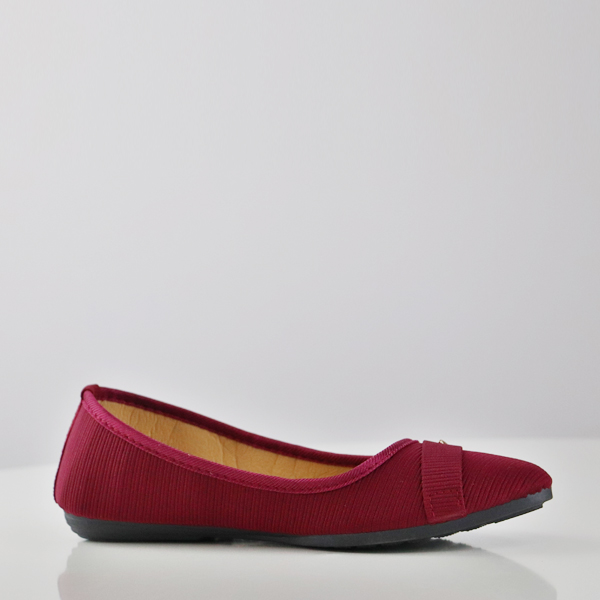 Flat Textured Canvas Party Wear Shoes - Burgundy
