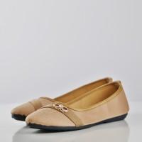 Fashionable Textured Crystal Bow Flat Shoes - Khaki