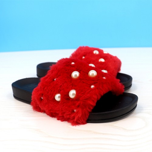 Fluffy Pearl Decorated Flat Wear Casual Sandals - Red