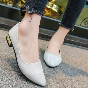Canvas Flat Printed Formal Office Wear Shoes - White