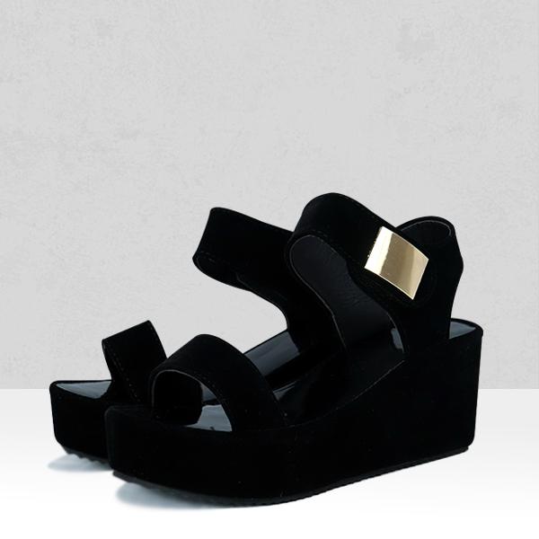 Black Velvet Strappy Heavy Bottom White Sandals