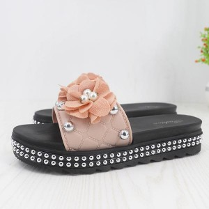 Flower Design Round Pattern Casual Wear slipper- Apricot