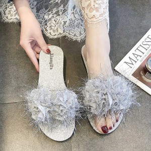 Furry Flat Wear Party Sandals - Silver