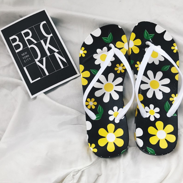 Yellow Floral Colorful Flat Beach Slippers