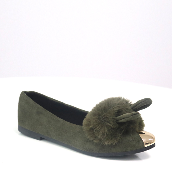 Fluffy Rabbit Golden Canvas Party Shoes - Green