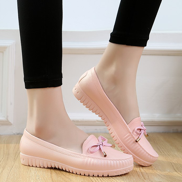 Bow Lace Casual Rubber Shoes - Pink