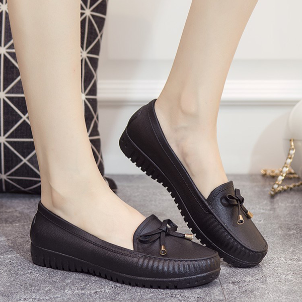 Bow Lace Casual Rubber Shoes - Black