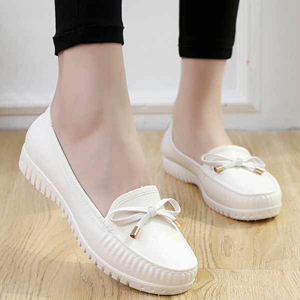 Bow Lace Casual Rubber Shoes - White