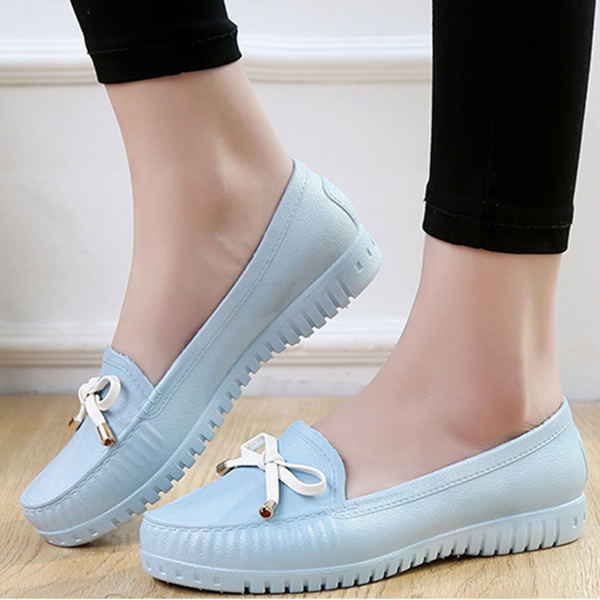 Bow Lace Casual Rubber Shoes - Sky Blue