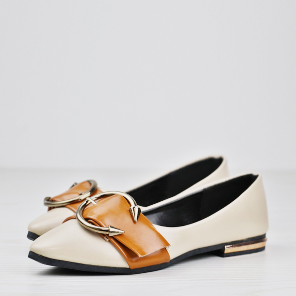 Pointed High Quality Contrast Solid Color Shoes - Beige