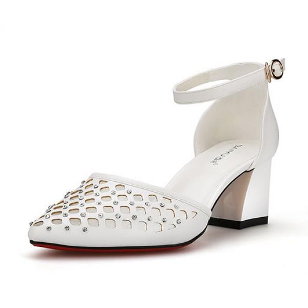 Baotou Sandals Female Thick High Heeled Rhinestone Buckle White