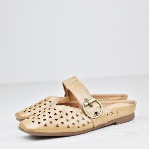 Hollow Buckle Flat Wear Party Sandals - Khaki
