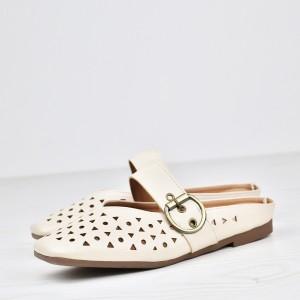 Hollow Buckle Flat Wear Party Sandals - Beige