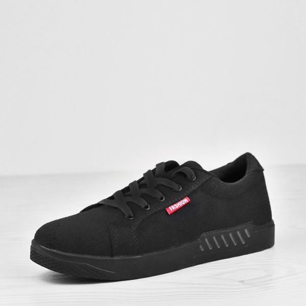 Laced Casual Wear Solid Color Canvas Shoes - Black
