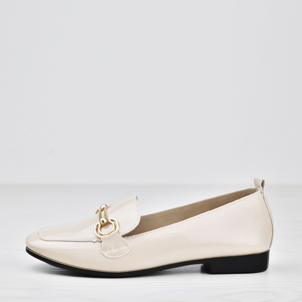 Shiny Leather Formal Office Wear Designers Shoes - Beige