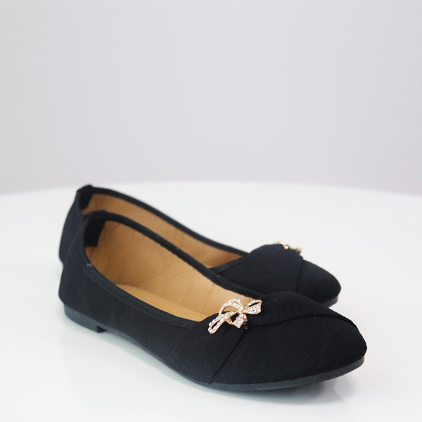 Bow Crystal Party Wear Flat Shoes - Black